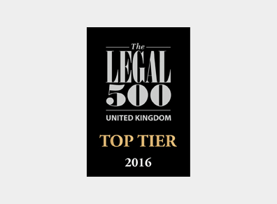 Legal 500 UK Top Tier 2016